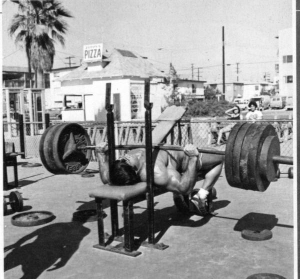 Franco Columbu Bench Presses Heavy